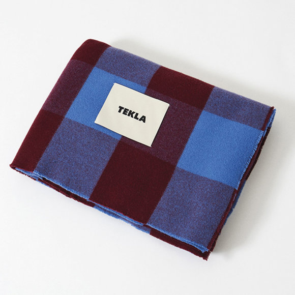 TEKLA - Merino Plaid 150x210 Blue/Burgundy