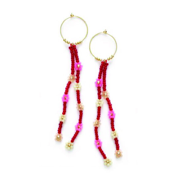 Anni Lu - Petals Hoop Earrings Crimson