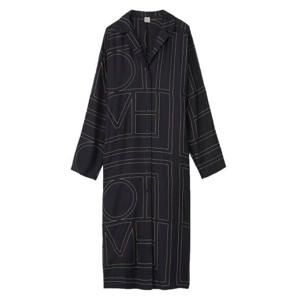 Toteme - Anet Silk Dress Black Monogram