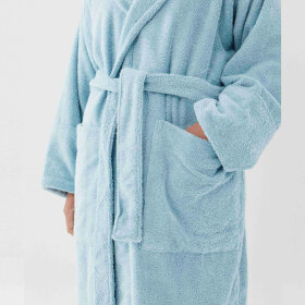 TEKLA - Hooded Bathrobe Aqua
