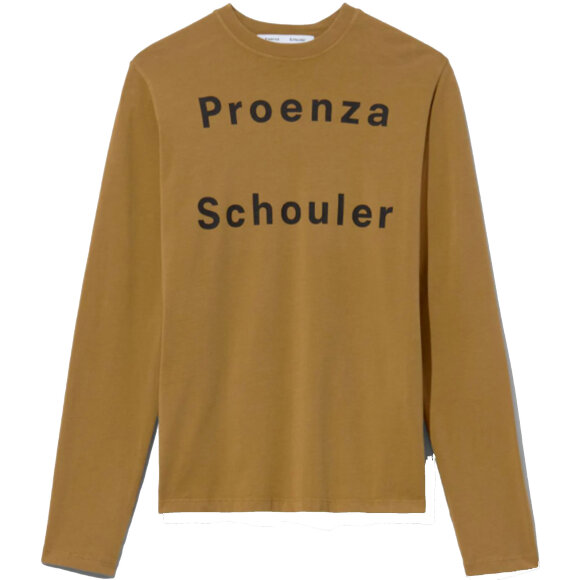 Proenza Schouler White Label - Logo Long Sleeve T-Shirt Khaki