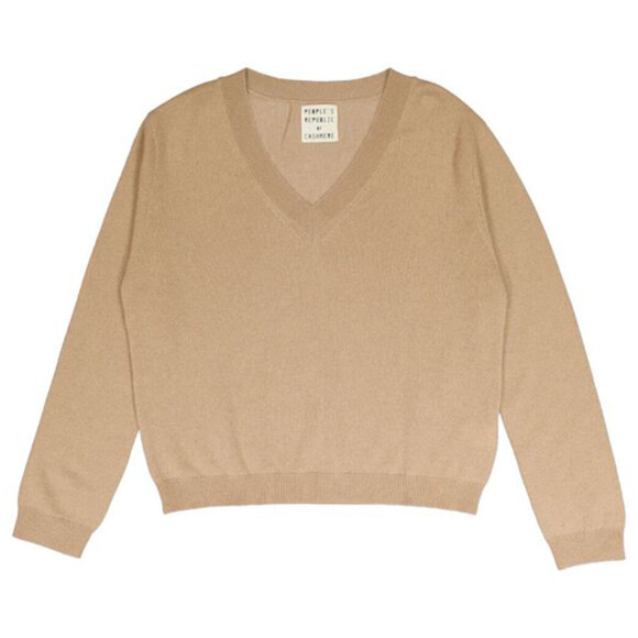 Peoples republic of cashmere - Womens V-Neck Camel